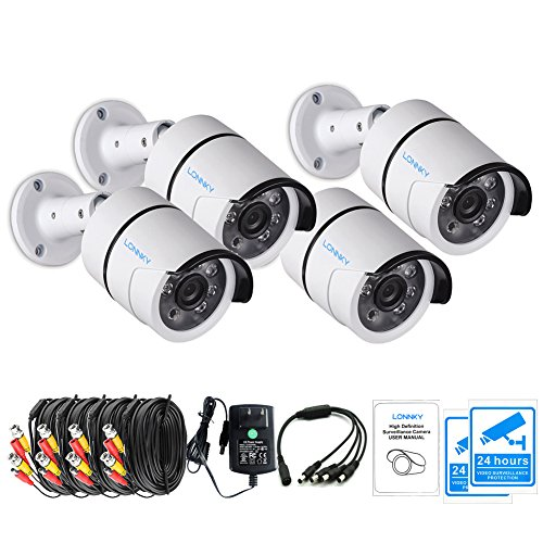 Lonnky 4 Pack Outdoor Security Camera  1080P Tvi Outdoor Bullet Cameras  Including Power Supply  Splitter Cable And Extension Cable   3 6Mm Lens 80Ft Night Vision Hd Cctv Waterproof Security System
