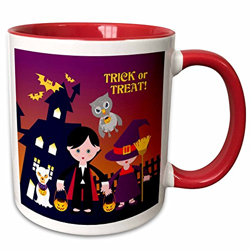 3dRose Belinha Fernandes - Halloween Celebration - Trick or treat message and dog ghost with kids dressed up in dracula and witch costumes - 15oz Two-Tone Red Mug -