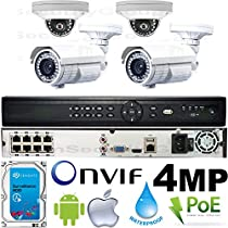 USG Business Grade 4MP 2592x1520 4 Camera HD Security System : 16 Channel 6MP Security NVR + 2x Dome 2.8mm & 2x Bullet Telephoto 5-50mm 10x Zoom Cameras + 1x 2TB HDD : Apple Android Phone App