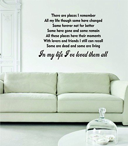 The Beatles In My Life Ive Loved Them All Lyrics Decal Wall Vinyl Art Sticker Music For Living Room Decoration (Wall Decals Lyrics)