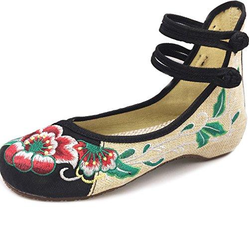 National Chinoises Floraux Femme En Noir Compensées Toile Eagsouni® Chaussures Wind Brodées IqIPd