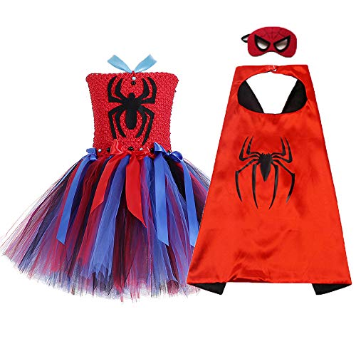 O'COCOLOUR Spider Man Costume for Toddler 3-4 Years Old Girl Superhero Tutu Dress with Cape and Mask (Spidergirl, Medium)]()