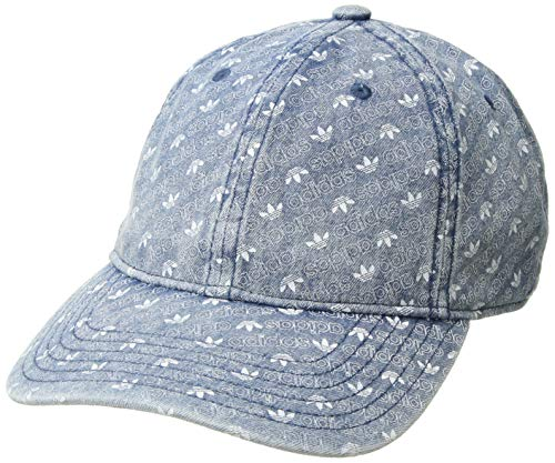 adidas Men's Originals Relaxed Strapback Cap, washed denim Monogram print, One -