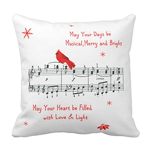 Emvency Throw Pillow Cover Music and Red Cardinal Bird Christmas Decorative Pillow Case Holiday Home Decor Square 18 x 18 Inch Cushion Pillowcase