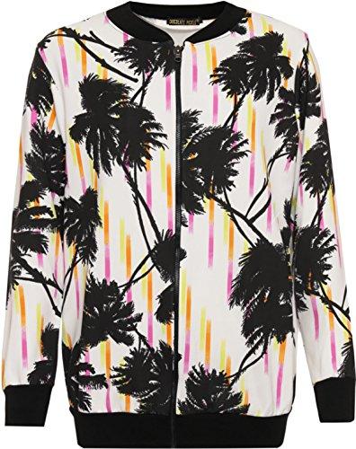Chocolate Pickle? Nouveau Femmes Grande Taille noire florale Imprimer Zip Up bombardier c?tele Blazer Veste 42-56 Black Tropical