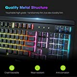 VicTsing Gaming Keyboard USB Wired Keyboard, Quiet All-Metal Panel Spill-Resistant Keyboard with Ergonomic Wrist Rest, Ultra-Slim Rainbow LED Keyboard for Desktop, Computer