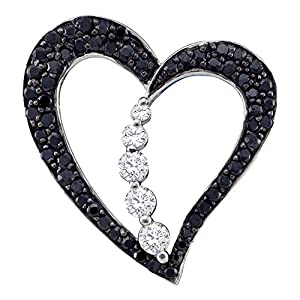 10kt White Gold Womens Round Black Colored Diamond Heart Love Journey Pendant 1/2 Cttw