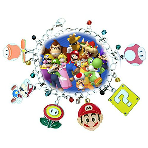 Mario 6 Charms Lobster Clasp Bracelet in Gift Box by Superheroes]()