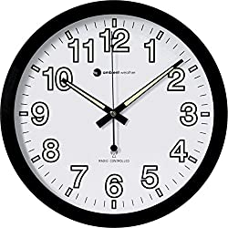 Ambient Weather RC-1200WB-IL 12 Luminous Glow in the Dark Atomic Radio Controlled Wall Clock, White / Black
