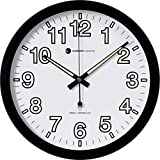 "Ambient Weather RC-1200WB-IL 12"" Luminous Glow in the Dark Atomic Radio Controlled Wall Clock, White / Black"