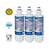Lg Water Filter for Refrigerator IcePure Refrigerator Water Filter Replacement (3PACK )Compatible with LG ADQ36006101, ADQ36006102, LT700P, KENMORE 469690, WATER SENTINEL WSL-3 and more