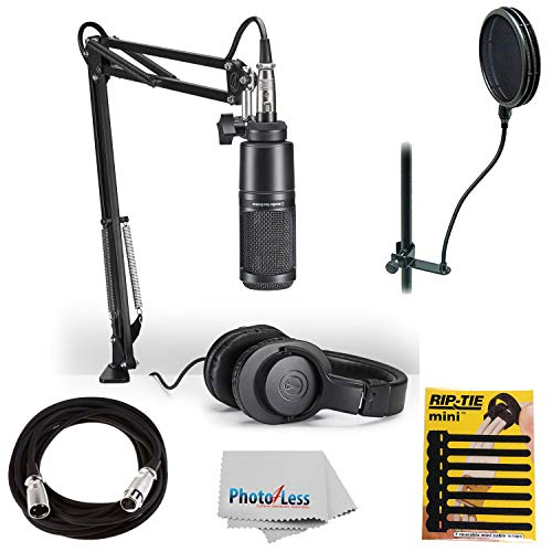 - Audio-Technica AT2020 Studio Microphone Pack Top Value Bundle with ATH-M20x Headphone, Boom & XLR Cable + Pop Filter & Extra Mic Cable & More