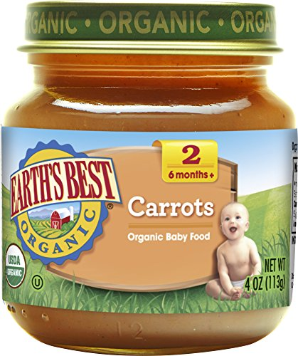 Earths Best Organic Stage 2, Carrots, 4 Ounce Jar (Pack of 12)