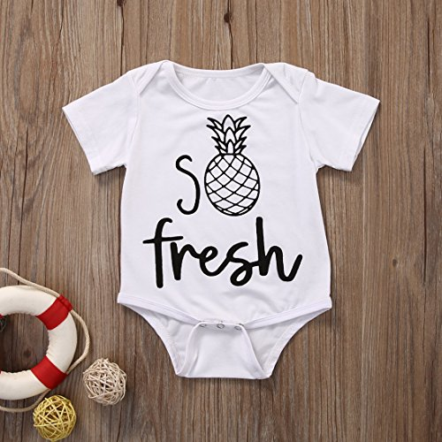 Newborn Unisex Baby Bodysuit Short Sleeve Fresh Pineapple Print One Piece Outfit