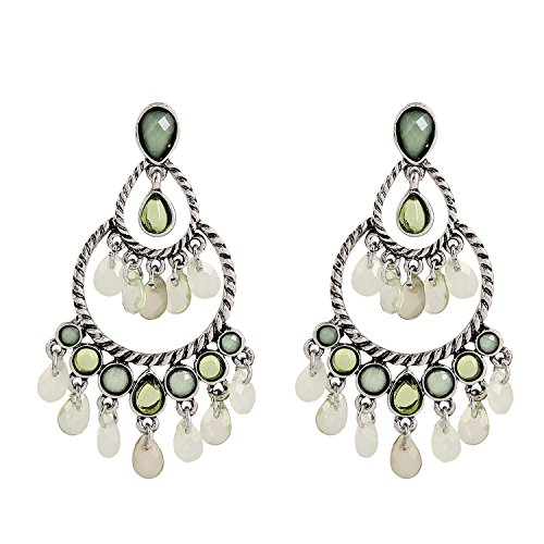 D EXCEED Vintage Teardrop Bead Statement Earrings Bling Bling Chandelier Tiered Pierced Jewelry for Women ()