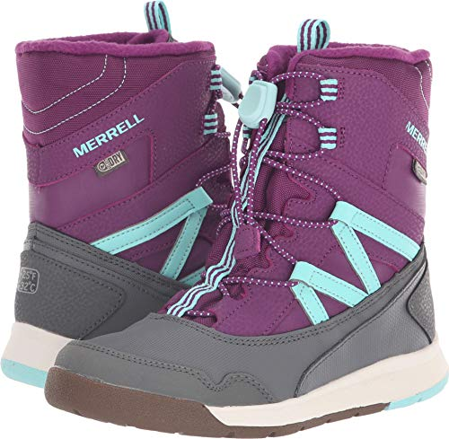 (Merrell Girls' Snow Crush WTRPF Boot, Purple/Turquoise, 11 Medium US Little Kid)