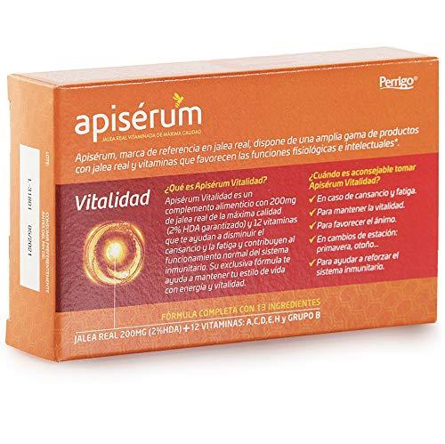 Apisérum Vitalidad Cápsulas - Favorece y mantiene la vitalidad en caso de cansancio y fatiga - Multivitamínico con Jalea Real y Vitaminas A,C,D,E,H y ...