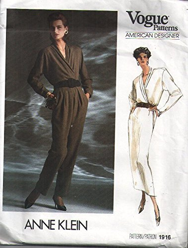 Vogue 1916 Sewing Pattern for Anne Klein Designer Pleated Collar Wrap Blouse, Front Pleated Tapered Side Slant Pocket Pants & Slim Skirt with Back Zip Waistband in Misses 8 10 (Slant Pockets Skirt)