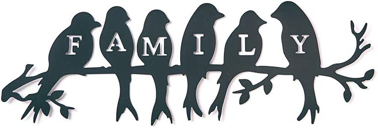 Family, Metal Hanging Wall Word Art with Birds on Branches, Metal Home Accent, Home Metal Wall Decor