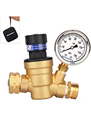 Measureman Adjustable Lead Free Brass RV Pressure Regulator, Pressure Reducer with Liquid Filled Pressure Gauge 160psi and Inlet Screened Filter for RV Camper Travel Trailer