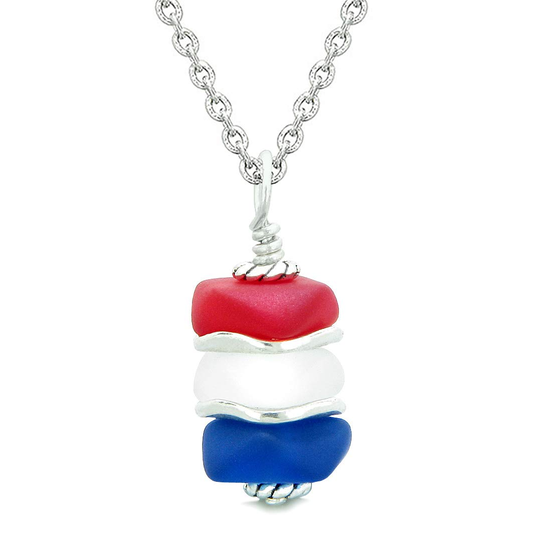 Sea Glass ICY Frosted Waves Ocean Blue Red Mist White Positive Powers Amulet Pendant 22 Inch Necklace
