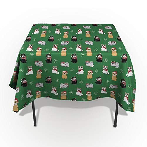 Drops Tablecloth Green Pool (Edwiinsa Spillproof Washable Fabric Tablecloth, Green Backdrop Cat Wearing a Christmas Hat Table Cover for Dinning Buffet Table Party Picnic Tabletop - Rectangle/Oblong 60 x 60(153 x 153cm))
