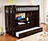 Discovery World Furniture All in One Loft Bed, Twin, Espresso
