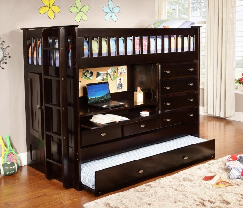 (Discovery World Furniture All in One Loft Bed, Twin, Espresso)