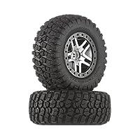 Traxxas 6873 BF Goodrich Mud Terrain T /A KM2 Neumáticos pre-encolados en cromo satinado, ruedas negras estilo abalorio (par)