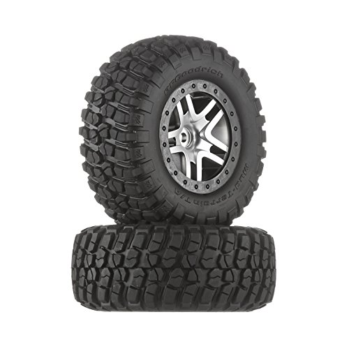 Traxxas 6873 BF Goodrich Mud Terrain T A KM2 Tires Pre-Glued on Satin Chrome - Black Beadlock-Style Wheels (pair)