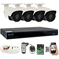 GW 4 Megapixel HD 1440P Complete Security System | (4) x 4MP Outdoor Bullet Security Cameras, 8-Channel Plug and Play 5-In-1 DVR, True 4MP HD 1440P @30fps Double the resolution of HD 2MP 1080P