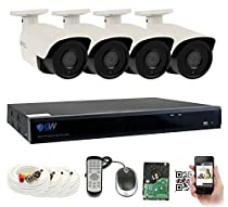 GW 4 Megapixel HD 1440P Complete Security System | (4) x 4MP Outdoor Bullet Security Cameras, 8-Channel Plug and Play 5-In-1 DVR, True 4MP HD 1440P Double the resolution of HD 2MP 1080P