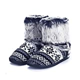 pestor Women's Mid Calf Boot Slippers Winter Warm Indoor Outdoor Slipper Snow Bootie Boots Shoe (L:8-10, Black)