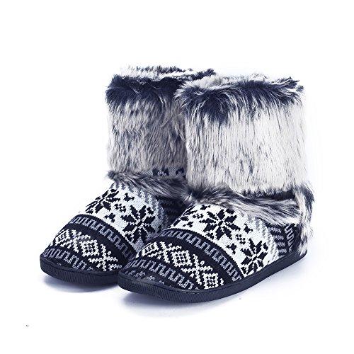 pestor Women's Mid Calf Boot Slippers Winter Warm Indoor Outdoor Slipper Snow Bootie Boots Shoe (L:8-10, Black) (Black Slipper Boots For Women)