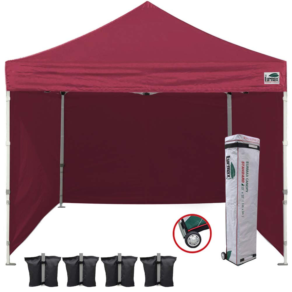 Eurmax 10'x10' Ez Pop-up Canopy Tent Commercial Instant Canopies with 4 Removable Zipper End Side Walls and Roller Bag, Bonus 4 SandBags (Burgundy)