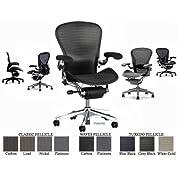 Herman Miller Aluminum Aeron Executive Chair Highly Adjustable with PostureFit Lumbar Support, Leather Arm Pads...