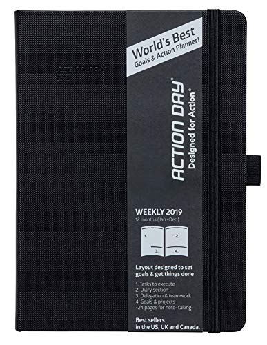Clearance Sale - Action Day Planner 2019 - #1 Time Management Journal & You Get Things Done - All Your Thoughts, Goals & Actions in One Place (6x8,Thread-Bound,Black)