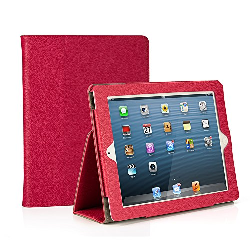 Smart Leather Cover Case for Apple iPad 2/3/4 (Hot Pink) - 7