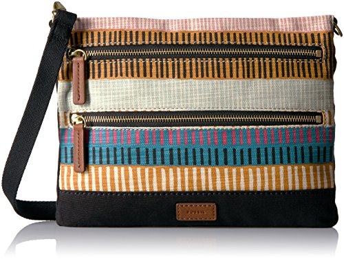 Fossil Passport Crossbody-Black Floral - Colorful Stripes...