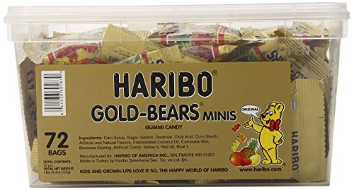 Gummy Bears Haribo Bulk - Haribo Goldbears Minis, 72-Count, 1 Pound 9.4 oz  Original Bears in mini bags