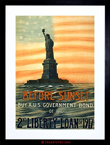 VINTAGE AD PROPAGANDA WWI WAR LIBERTY STATUE FLAG BOND FRAMED PRINT (Wwi Liberty Bonds)