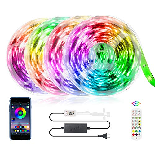 65.6FT LED Strip Lights, ZATAYE Ultra-Long Music Sync RGB Lights, 360LEDs SMD5050 App Control Dimmable Color Changing Tape Light for Bedroom, Home, TV, Party