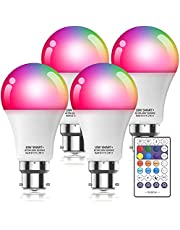 Smart WiFi Light Bulb with Remote, Compatible with Alexa Google Home, B22 Bayonet 10W 800LM Dimmable Warm Light and Multicolor, No Hub Required, 4Pack