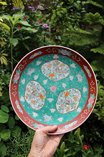 (Antique Chinese Porcelain Hand Painted Plate with 3 Windows, Qing Dynasty(?))