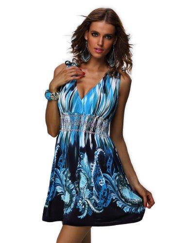 Silk Beaded Tank Dress - jinhuanshow Women's Spring Summer Sleeveless Floral Print Flowy Party Dress(Xxl, Blue&black)