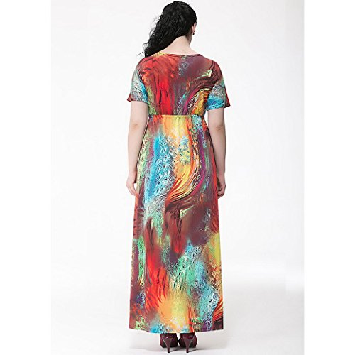 FEOYA Mujer Maxi Vestido Largo sin Mangas Alta Cintura Escote V Bohemio Sleeveless Dress Talla Grande para Playa Fiesta Verano Multicolor 1