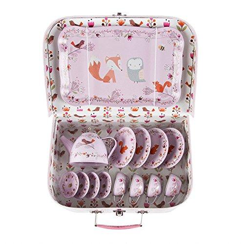 Süßes Teegeschirr Tiere des Waldes in einem Koffer aus Hartkarton sass & belle JEUX005