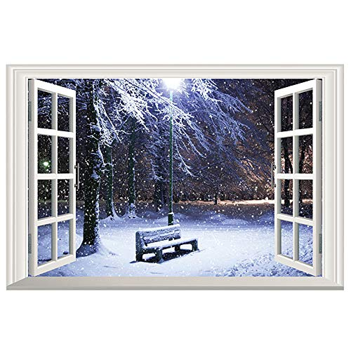 Mural Christmas - DNVEN 24 inches x 16 inches 3D Full Color High Definition Snow Winter Bench False Faux Window Frame Window Mural Vinyl Bedroom Living Room Playroom Wall Decals Stickers