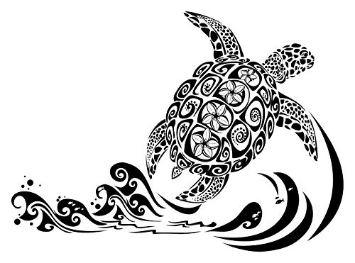 "Frankies Cajun Customs Turtle Hawaii Vinyl Decal - 30"" X 20.875"" Brown"