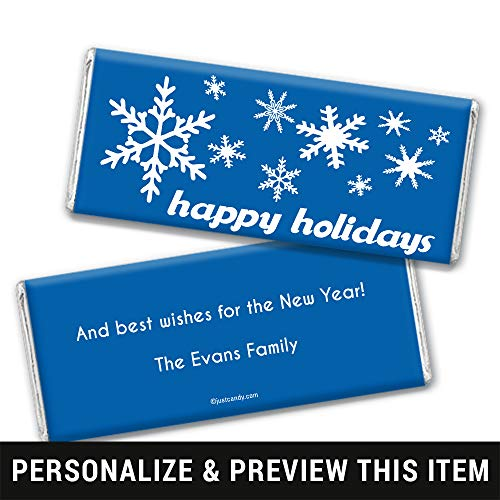 Happy Holidays Personalized Chocolate Bar Wrappers Only Holiday Snowflakes (25 Wrappers) Cobalt